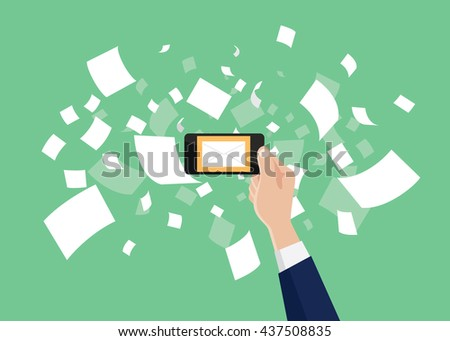 email marketing hand holding smartphone with message envelope and paper document newsletter as backgrond vector graphic illustration