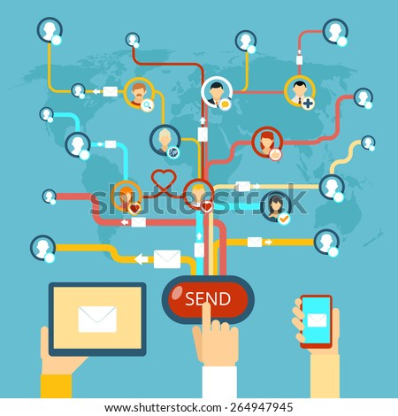 Email marketing. Internet concept communication technology, message and media and web. Vector illustration - stock vector