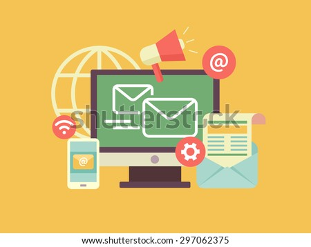 Email marketing. Propagation and sharing, promotion and support, optimization and megaphone. Flat vector illustration - stock vector