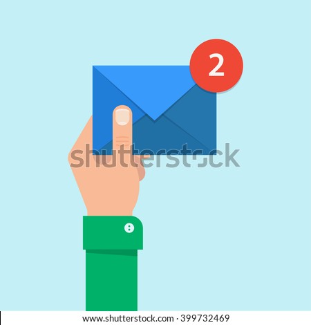 Email message concept. New, incoming message, sms. Hand holding envelope, letter. Delivery of messages, sms. Mail notification, sending messages. Get mail, chat message. Coming messages. - stock vector