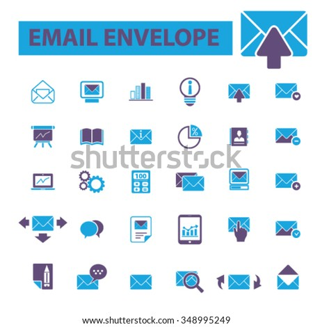 email, message, mail  icons, signs vector concept set for infographics, mobile, website, application  - stock vector