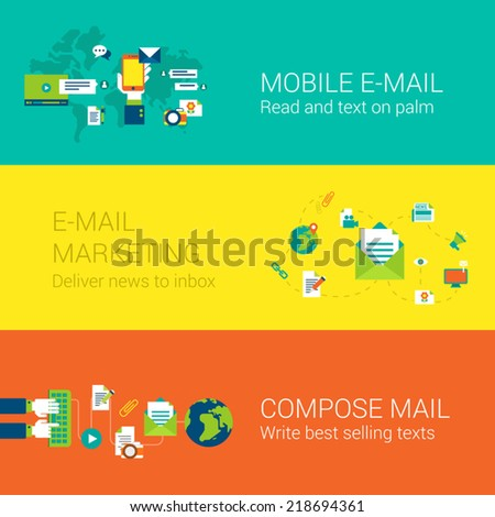 Email mobile marketing subscription concept flat icons set of mail touch screen phone world global news delivery inbox and vector web illustration website click infographics elements collection - stock vector