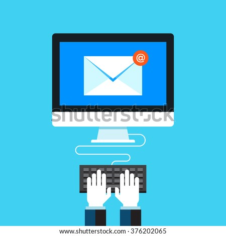 Email, Newsletter, E-mail marketing. Flat design modern vector illustration concept. - stock vector