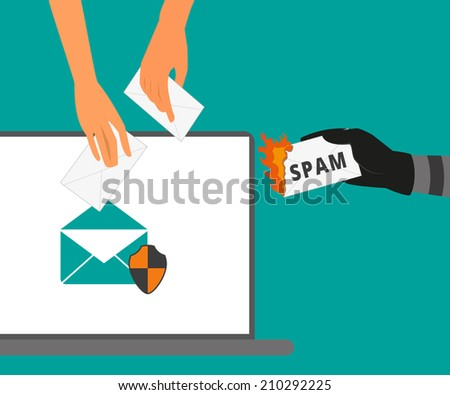 Email protection from spam. Spam letter is burning - stock vector