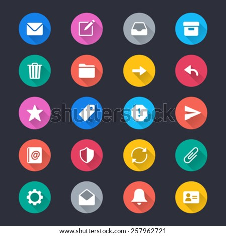 Email simple color icons - stock vector