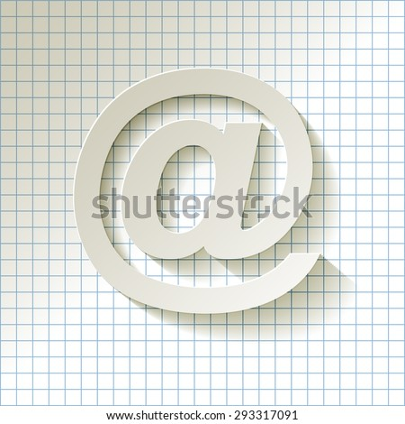 email symbol long shadow on a checkered pattern background