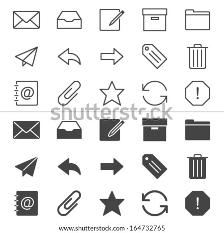Email thin icons, included normal and enable state. - stock vector