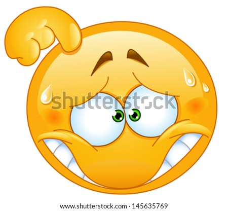 Embarrassed emoticon - stock vector