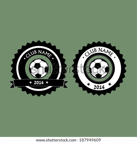 Emblem and logo for soccer club with ribbon for your text  - stock vector