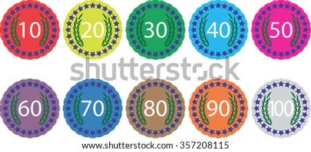 Emblem badge anniversaries color set. Birthday insignia for jubilee, label or emblem celebration sign 70, banner 100 year, award 30, 60 and 90 stamp. Vector art abstract unusual fashion illustration - stock vector