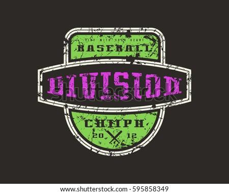 Emblem Baseball Division Graphic Design For T Shirt Color Print On Black Background