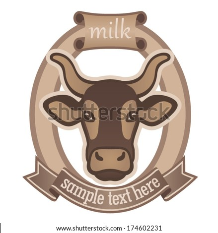 Emblem for dairy products or for the cattle industry,  logo design - stock vector