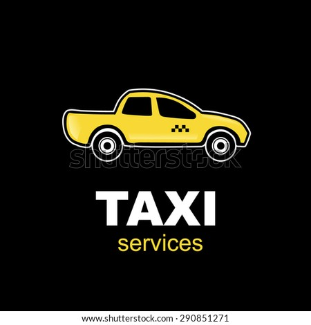 emblem for taxi service with one yelow car