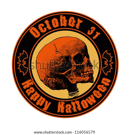 "emblem ""happy halloween"" with skull. vector illustration. - stock vector"