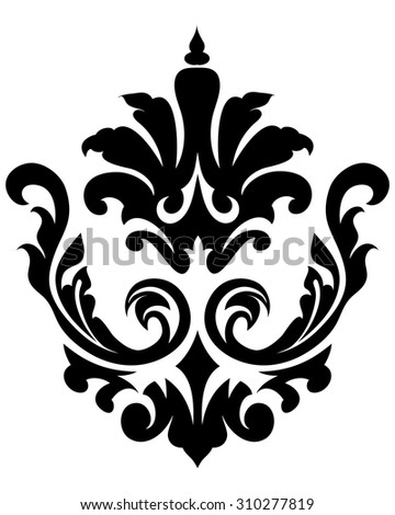 Emblem in Damask Style Over White Background - stock vector