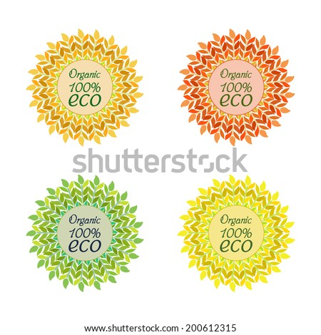 Emblem, label, tag for your design. Ears of wheat, barley, arranged in a circle with the words organic eco. vector illustration. - stock vector