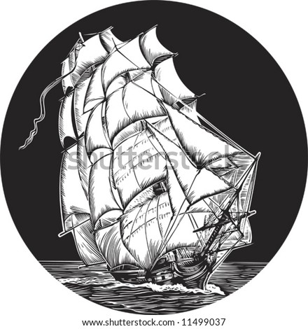Emblem of old ship with white sail - stock vector