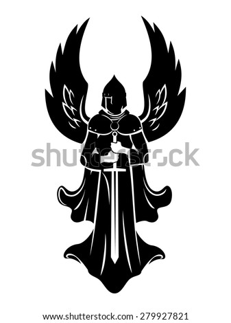 emblem of the Archangel with sword - stock vector