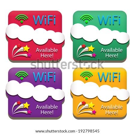 Emblem of wifi service. vector / illustration - stock vector