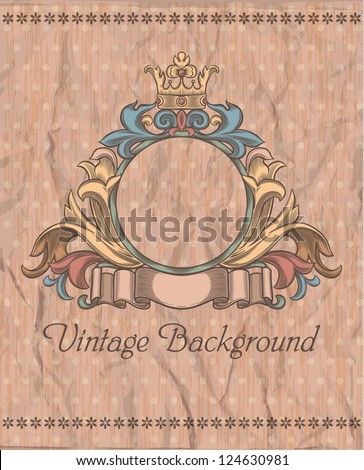 emblem on the vintage background - stock vector