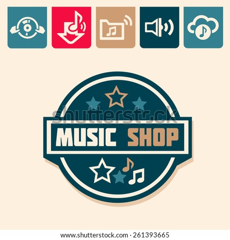 Emblem or logotype elements for music shop, guitar shop - stock vector