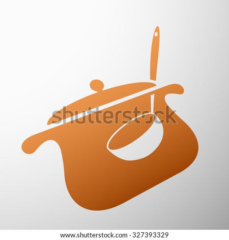 Emblem pan with a ladle. Stock vector illustration. - stock vector