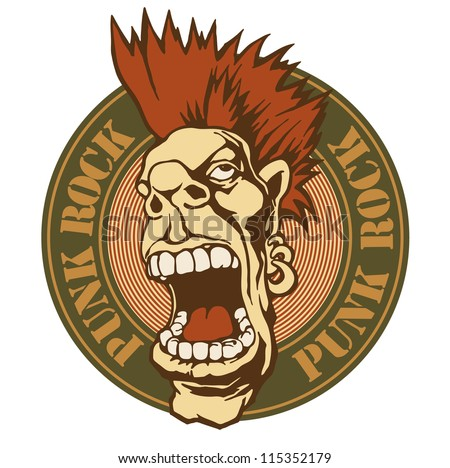 "emblem ""punk rock"" with screaming punk head. vector illustration. color version. - stock vector"
