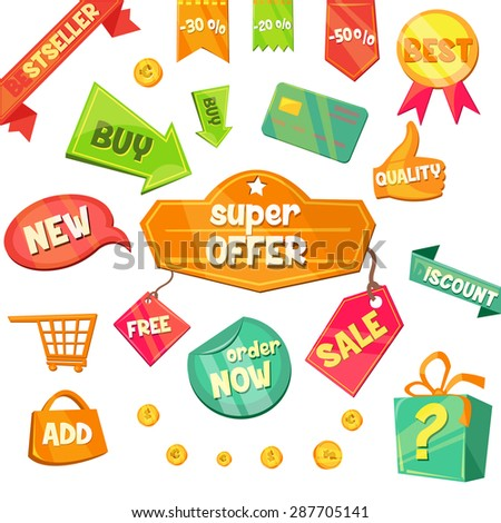 Emblem sale, discount super offer, favorable price, high quality sign and tape. Flat style icon vector - stock vector