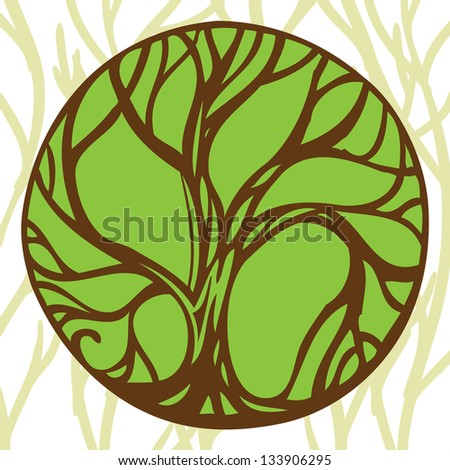 emblem tree - stock vector