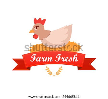 Emblem with Chicken Hatches Eggs, Farm Fresh - Vector Illustration. - stock vector