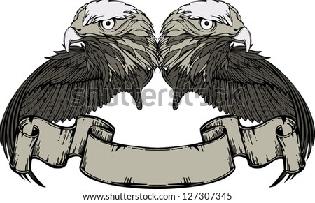 Emblem with eagle and wings and vintage banner. Vector illustration. - stock vector