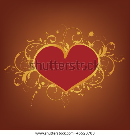 emblem with heart, vector - stock vector