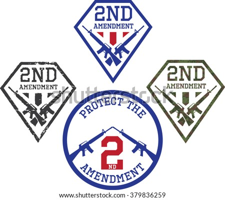 Emblems of support for The Second amendment-US Constitution.  - stock vector