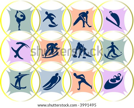 emblems of winter Olympic games - stock vector