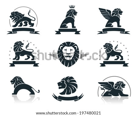 Emblems set with lions - stock vector