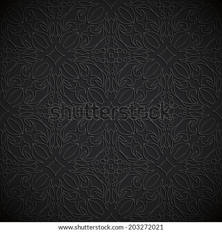 Embossed fabric seamless oriental pattern black color - stock vector