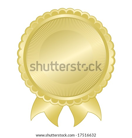 Embossed gold foil document seal good for award, quality assurance, anniversary, or commemorative use. - stock vector