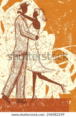 Embracing couple sketch A couple embracing over an abstract background.  - stock vector