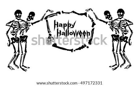 Embracing skeletons are holding the frame made of bones with inscription Happy Halloween. Isolated on white background. Can be used as a greeting card or invitation.