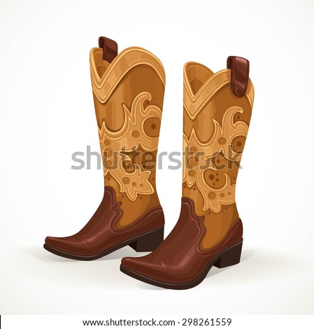 Embroidered cowboy boots isolated on white background - stock vector