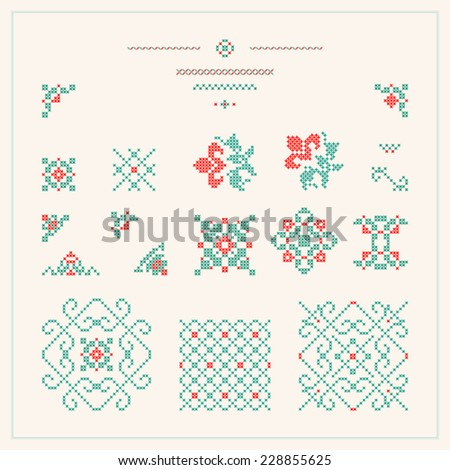 Embroidered design elements - stock vector