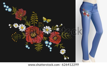 Embroidered flower patch rose poppy daisy herbs. Women slim jeans pair decoration floral ornament print sticker embroidery. Vintage fashion trendy design vector illustration art