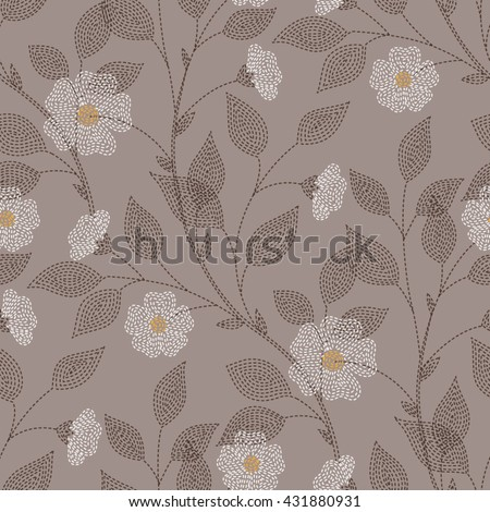 Embroidered flowers and leaves on brown background. Seamless pattern for your design  - stock vector