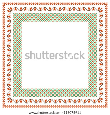 Embroidered frame; decorative background with place for text - stock vector