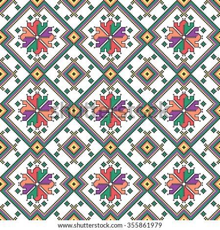 embroidered good like old handmade cross-stitch ethnic Ukraine pattern. seamless background - stock vector
