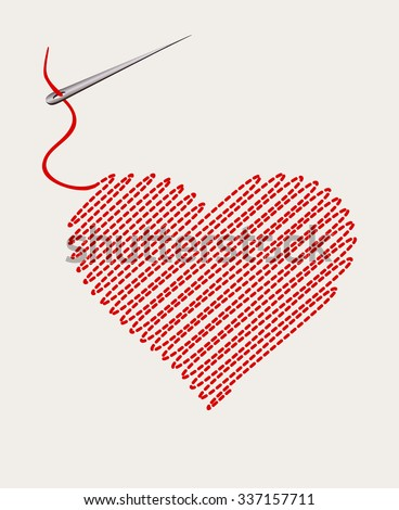 embroidered heart with a needle thread. vector illustration - stock vector