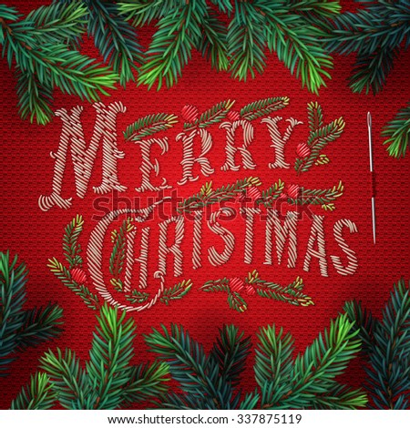 Embroidered Merry Christmas card, lettering on red background, vector illustration. - stock vector