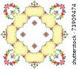 embroidered serviette like handmade cross-stitch ethnic Ukraine pattern - stock vector