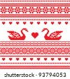 Embroidered traditional motif Swans and heart ornamental seamless pattern - stock vector