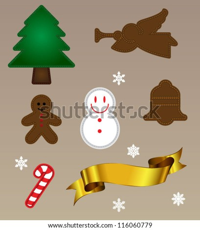Embroidery christmas object - stock vector